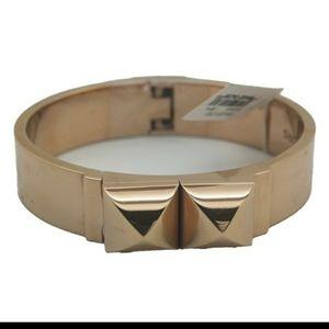 Brand New Michael Kors Rose Gold Pyramid Bangle Cuff Braclet